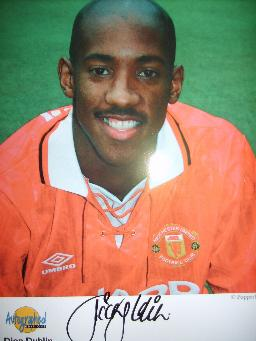Dion Dublin in Manchester Utd colours signed