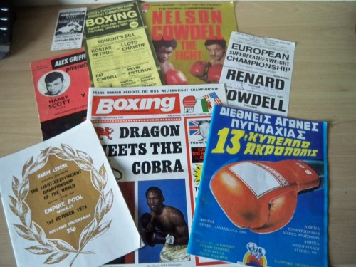 Boxing memorabilia a varied selection from 1970's and 80's Programmes and tickets