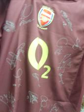 Arsenal Blackcurrent shirt signed by  approx 18