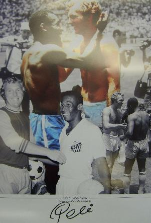 Pele & Bobby Moore montage signed by Pele