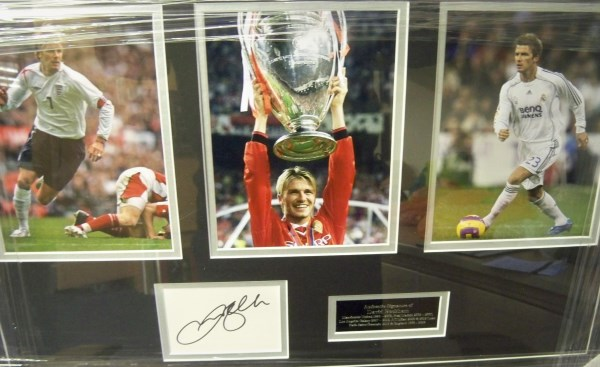 David Beckham montage 3 photos plus signature