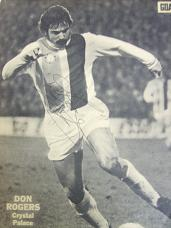 Crystal Palace star Don Rogers signed magazine picture