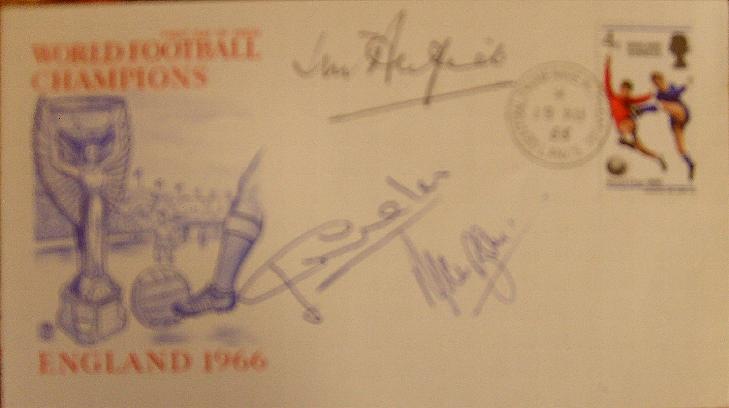1966 first day cover signed by Jimmy Armfield, Alan Ball and Jack Charlton