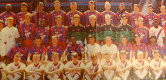 Crystal Palace signed team picture 11 signatures including Ian Wright
