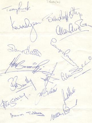 Blackpool signed team sheet 15 signatures from the 70's