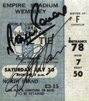 1966 World cup final  replica ticket signed by Geoff Hurst and Martin Peters