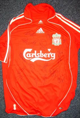 Liverpool home shirt multi signed