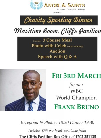 Frank Bruno charity dinner Southend on Sea £55 a head including picture with Frank
