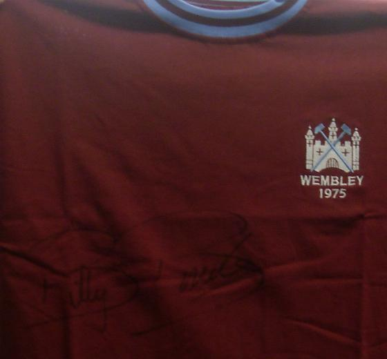 1975 replica  West Ham shirt signed by Billy Bonds