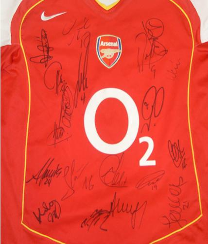 Arsenal legends shirt signed by approx 16 including Henry