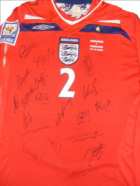 England match issued shirt signed by the team