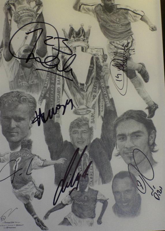 Arsenal legends signed pencil drawing signed by thierry Henry, Robert Pires, Freddie Ljungberg, Arsene Wenger, Patrick Viera