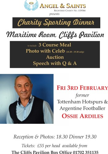 ***Ossie Ardiles dinner 3rd Feb Southend on sea tickets £55 including photo with Ossie