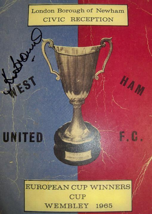 1965 European Cup winners cup Replica recepion programme actually signed by Ken Brown