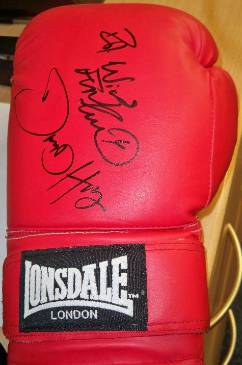 Boxing Glove signed by David Haye and Frank Bruno
