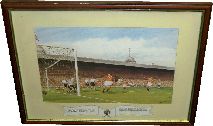Blackpool v Bolton Wanderers 1953 FA Cup Final Print Signed by Stanley Matthews
