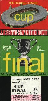 1969 Arsenal v Swindon Town League Cup Final with Ticket