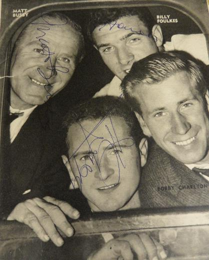 Matt Busby, Harry Gregg and Bill Foulkes signed  rare picture