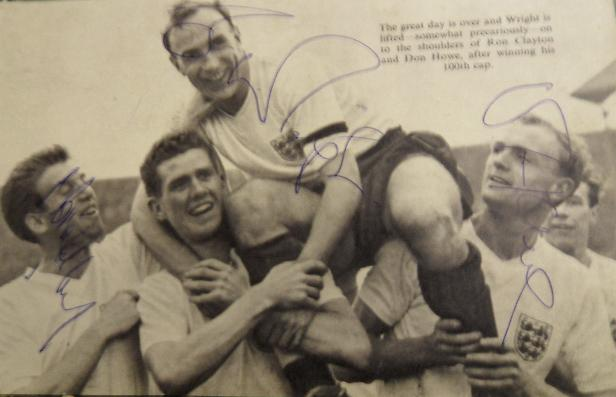 Billy Wright, Don Howe, Peter Broadbent signed England picture