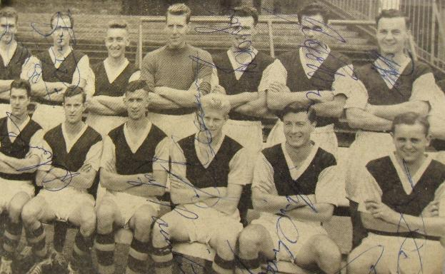 Burnley vintage signed newsprint picture signed by 10