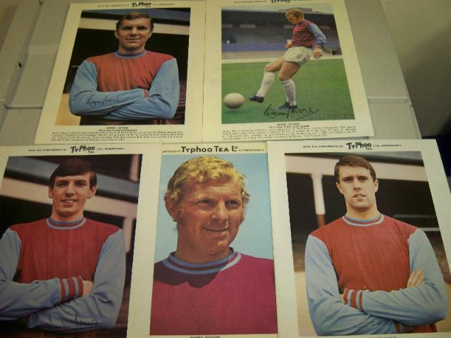 5 x West Ham Typhoo cards