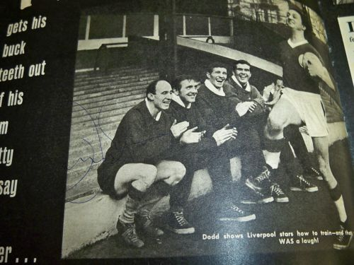 Jimmy Melia signed Liverpool image with Ken Dodd!