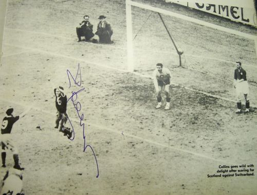 Bobby Collins scoring for Scotland V Switzerland signed action image AFTAL UACC
