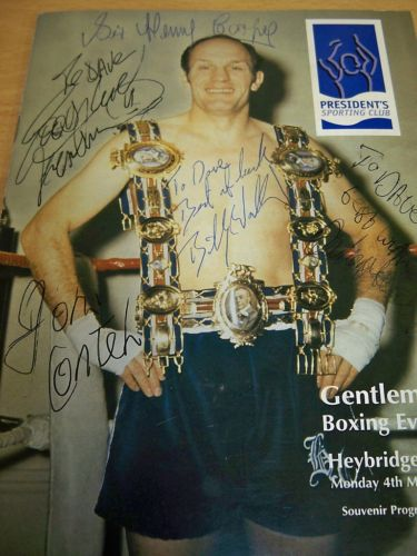 Boxing programme signed by Boxing Programme signed Henry Cooper Bruno,  John Conti, Billy Walker, Duke Mckenzie,