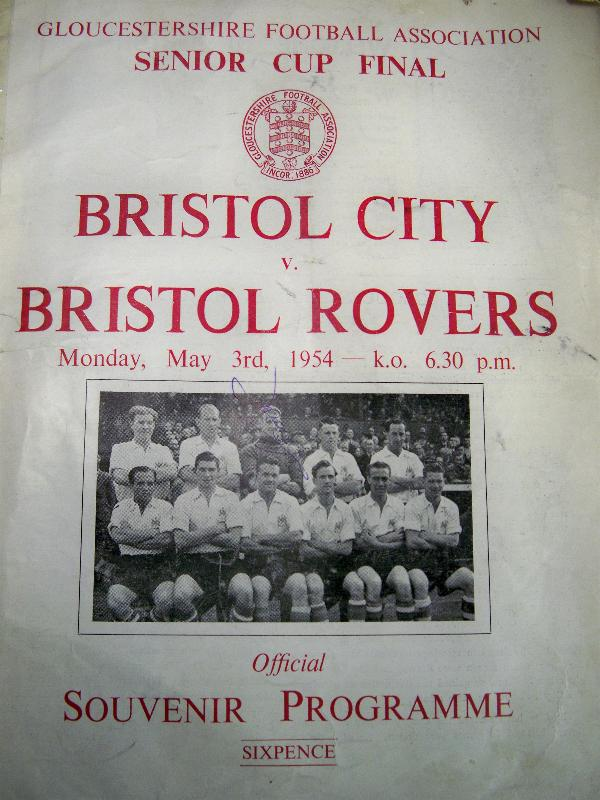 Bristol City v Bristol Rovers, Gloucester F A Senior Cup Final 1954 Programme signed by 2 players rare