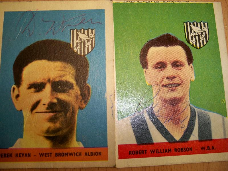 Bobby Robson and Derek Kevan signed 1950's AB&C collectable cards