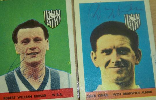 Bobby Robson and Derek Kevan rare signed 1950's A&BC cards West Bromwich Albion