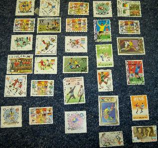 Collection of 30 football Vintage stamps