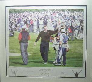Colin Montgomerie - golf legend signed image of 34th Ryder cup in a black frame