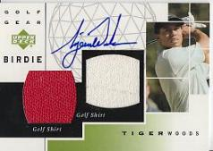 Tiger Woods autograph with actual worn shirt Swatches