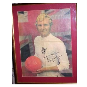 Bobby Moore actual signed poster.