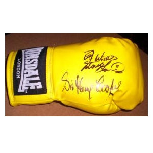 Boxing glove signed by former  World Champion Frank Bruno and Sir Henry Cooper. 1 left