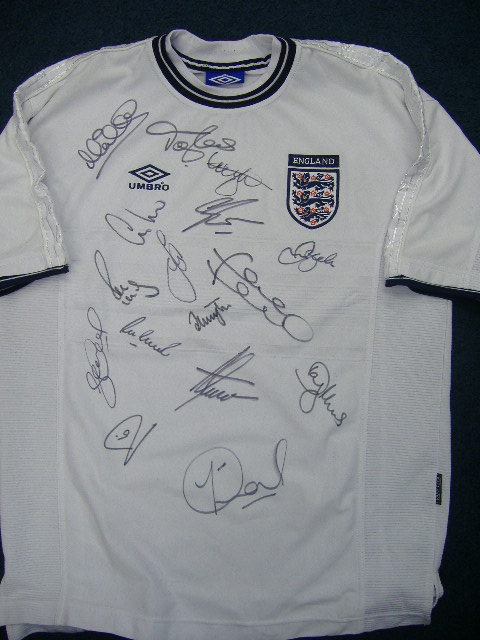 England shirt signed by Beckham & others