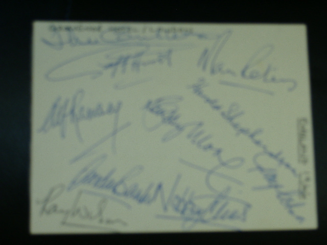 1966 full autograph card with 2 Bobby Moore signatures