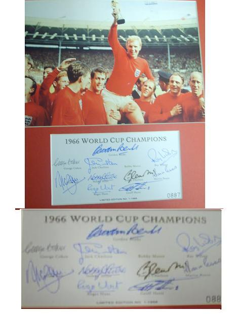 1966 limited edition Team sheet signed by 10 including  Alan Ball  we are down to the last 1
