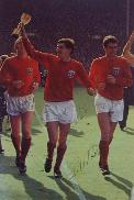 Bobby Moore Geoff Hurst & Martin Peters signed magazine picture