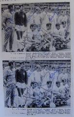Bobby Moore signed England pictures from newspaper