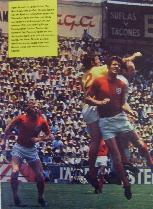England action picture from magazine signed by Bobby Moore, Peter Bonetti & Uwe Sealer