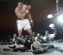 Cassius Clay stands above Sonny Liston  glossy photograph