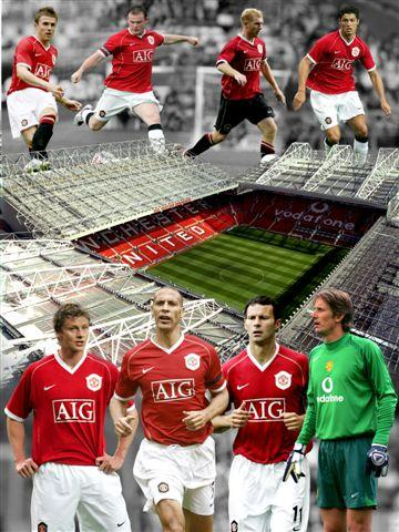 Manchester United players collage   glossy photograph