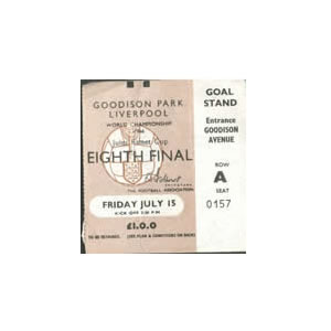 1966 World Cup Ticket 15 July Goodison Park