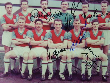West Ham United signed 1950's team photo