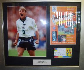 Englands Stuart Pearce famous Euro 96 photo signed framed