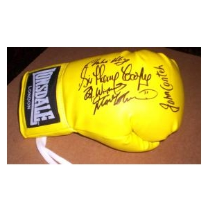 Boxing glove signed by the former World Champions Charlie Magri, Frank Bruno and John Conteh and the boxing legend Sir Henry Cooper.